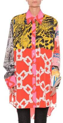 MSGM Multi-Print Long-Sleeve Button-Front Blouse