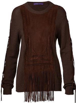 Ralph Lauren Suede-Trim Silk-Blend Sweater $1,990 thestylecure.com