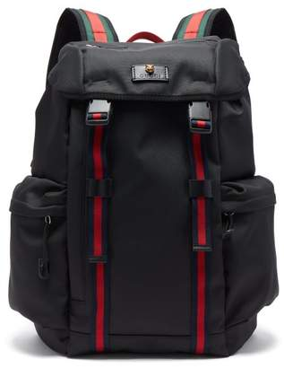 Gucci Web Striped Technical Canvas Backpack - Mens - Black