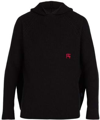 Raf Simons Ribbed Knit Wool Hooded Sweater - Mens - Black