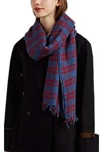 soeur Women's Edamame Plaid Wool Scarf - Blue
