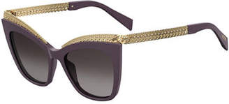 Moschino Mirrored Cat-Eye Sunglasses w/ Metal Curb Chain Arms