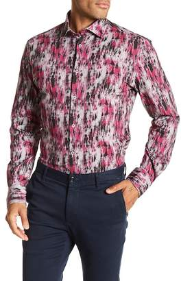 Stone Rose Herringbone Printed Slim Fit Shirt