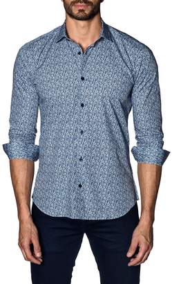 Jared Lang Men's Semi-Fitted Tiny Floral-Print Sport Shirt