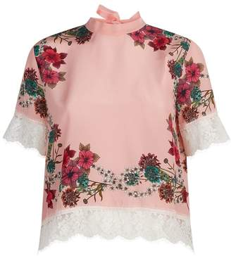 Sandro Floral Silk Blouse