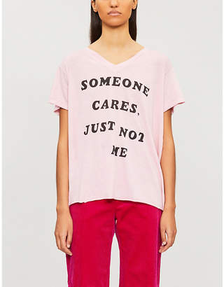 Wildfox Couture 'Someone cares, just not me'-print cotton-blend T-shirt