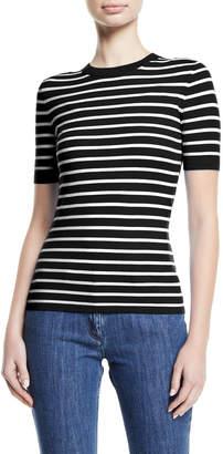 Michael Kors Crewneck Short-Sleeve Striped Stretch-Viscose Top