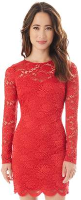 Iz Byer Juniors' Long Sleeve Lace Bodycon Dress