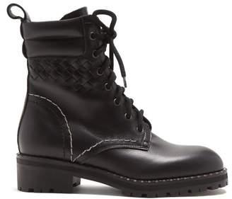 Bottega Veneta Chain Embellished Leather Ankle Boots - Womens - Black