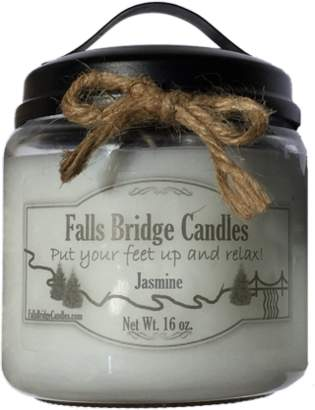 Jasmine Scented Jar Candle, 16-Ounce w/Handle Lid - Falls Bridge Candles