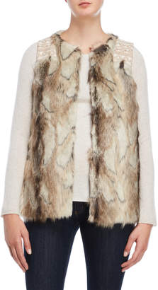 Miss Me Embroidered Faux Fur Vest