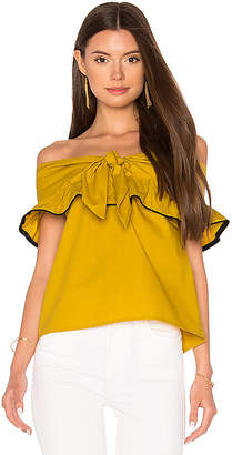 Line & Dot Lorena Off Shoulder Top in Mustard $83 thestylecure.com