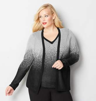 Avenue Plus Size Silver Lurex 2Fer Cardigan