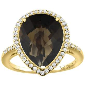 Sabrina Silver 14K Yellow Gold Natural Smoky Topaz & Diamond Engagement Ring Ring Pear Cut 16x12 mm, size 7