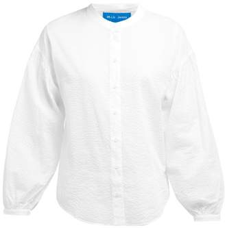 MiH Jeans Colt Band Collar Cotton Seersucker Shirt - Womens - White