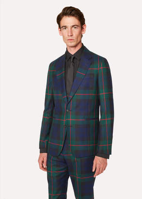 Paul Smith Men's Tailored-Fit Navy, Green And Red Tartan Wool Blazer