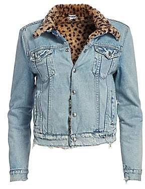 RE/DONE Women's Leopard Faux Fur Collar Jean Jacket
