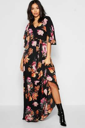 boohoo Tall Pleated Floral Print Maxi Dress