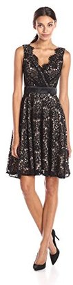 Betsy & Adam Women's Short Lace Party Dress $269 thestylecure.com