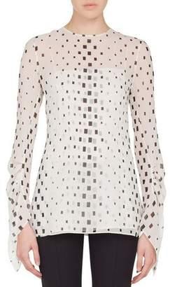 Akris Jewel-Neck Draped-Sleeve Hotel Facade Print Silk Georgette Blouse