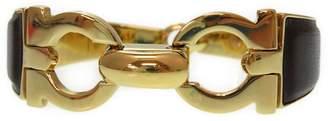 Salvatore Ferragamo Gold Tone Hardware & Leather Gancini Bangle Bracelet