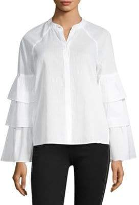 BCBGMAXAZRIA Tiered Ruffle Sleeve Blouse