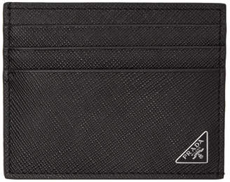 Prada Black Saffiano Triangle Card Holder