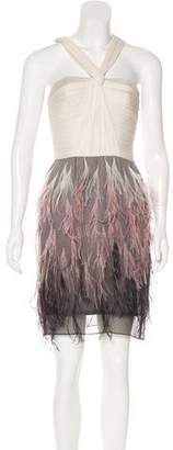 Lela Rose Feather-Trimmed Mini Dress