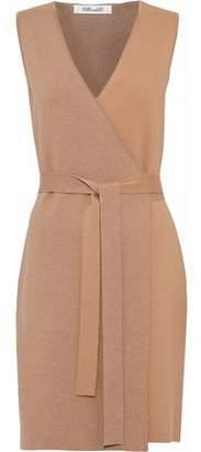Diane von Furstenberg Two-Tone Merino Wool-Blend Wrap Mini Dress