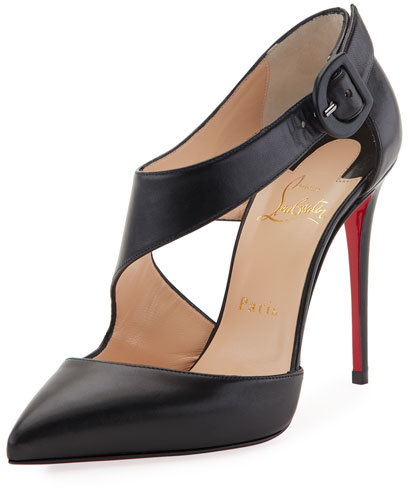 Christian Louboutin  Christian Louboutin Shrpeta Napa Asymmetric Cutout Red Sole Pump, Black