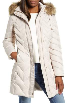Andrew Marc Matte Satin Chevron Faux Fur Trim Coat