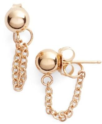 Women's Poppy Finch Gold Ball Chain Earrings $190 thestylecure.com