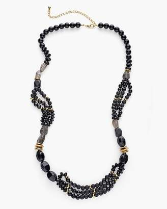 Chico's Chicos Long Black and Gold-Tone Single-Strand Necklace