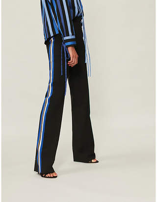 Etro Striped-side kick-flare stretch-wool trousers