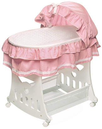 Badger Basket Portable Bassinet N Cradle with Toybox Base And Half Skirt