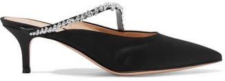 Gianvito Rossi 55 Crystal-embellished Satin Mules - Black