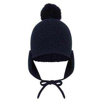 Armani Junior Armani JuniorBaby Girls Navy Wool & Cashmere Knitted Hat