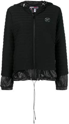 Plein Sport logo zipped quilted jacket