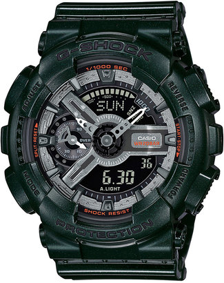 G-Shock Women's Analog-Digital S-Series Metallic Green Resin Strap Watch 46x49mm GMAS110MC-3A $130 thestylecure.com