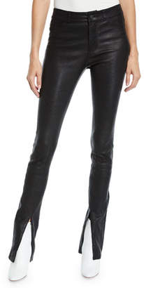 Paige Constance Split-Front Leather Skinny Pants