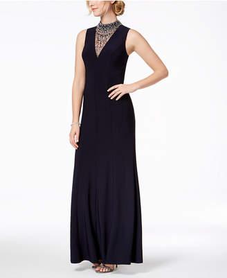 Vince Camuto Embellished Mock-Neck Gown