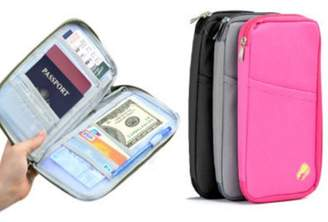 Tonewear Inc Multifunctional Travel Wallet For Passport Card Money Ticket Mobile Holder Clutch Bag-Pink