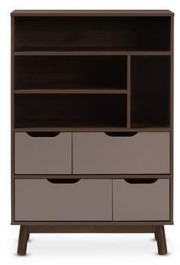 Mid-Century MODERN Wrought Studio Hilson Wood Standard Bookcase
