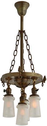 Rejuvenation Victorian Gas/Electric 4-Light Chandelier w/ Etched Shades