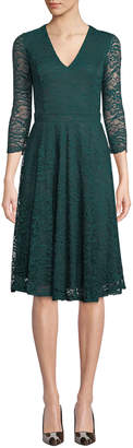 Neiman Marcus Lace Open-Back V-Neck Fit-&-Flare Dress, Emerald