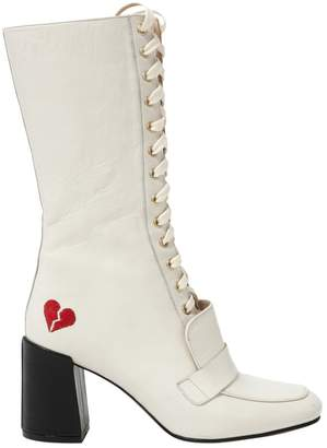 Non Signé / Unsigned Non Signe / Unsigned White Leather Ankle boots