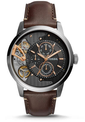 Fossil Townsman Twist Multifunction Dark Brown Leather Watch