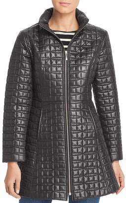 Kate Spade Hooded Fit-and-Flare Bow-Quilted Coat