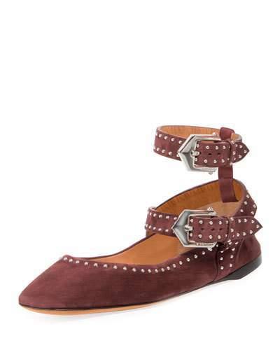 GivenchyGivenchy Elegant Soft Dual-Wrap Ballerina Flat, Oxblood Red