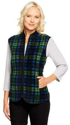 Susan Graver Printed Fleece Zip Front Vest with Pockets
